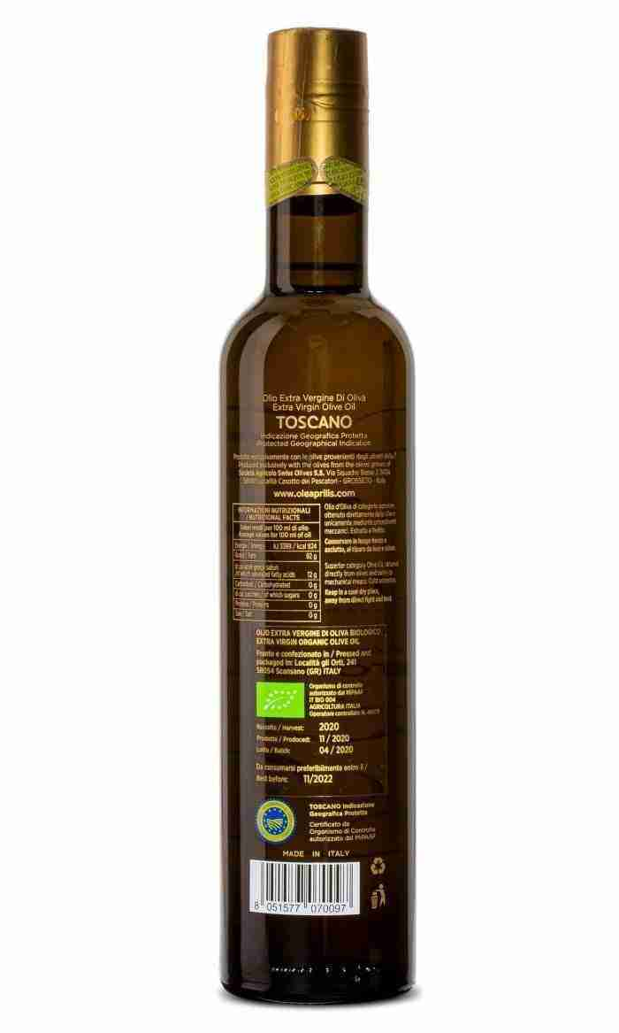IGP Toscano Organic EVOO Glass bottle with safety closures 6x500 ml