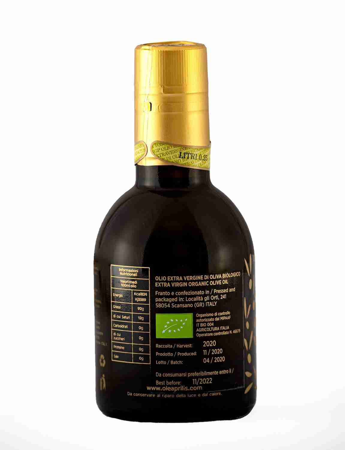 IGP Toscano Organic EVOO Glass bottle with safety closures