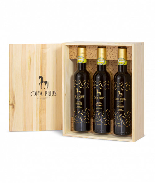 Box containing three 0.5 lt. bottle of IGP Toscano Organic EVOO 3x500 ml