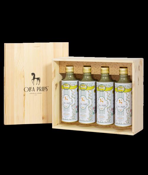 Box containing four 0.5 lt. tins of IGP Toscano Organic EVOO 4x500 ml