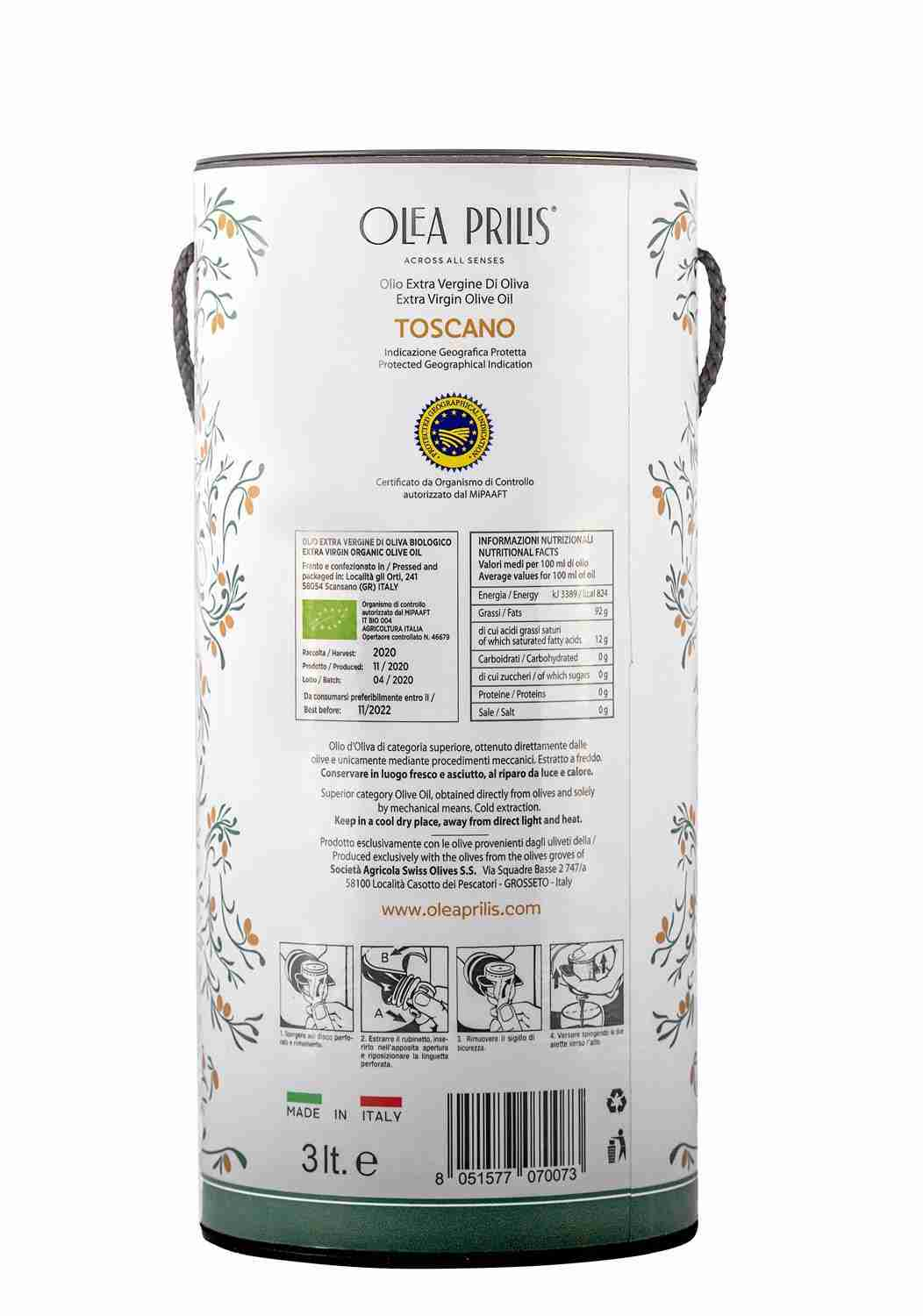 IGP Toscano Organic EVOO In Bag in Tube label details